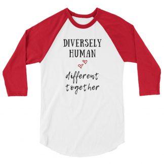 Diversely Human logo 3/4 sleeve raglan shirt