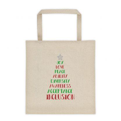 Positive Vibes Christmas Tree Canvas Tote bag