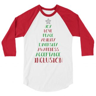 Positive Vibes Christmas Tree 3/4 sleeve raglan shirt