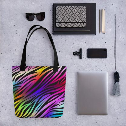 Rare Disease Rainbow Zebra Tote Bag